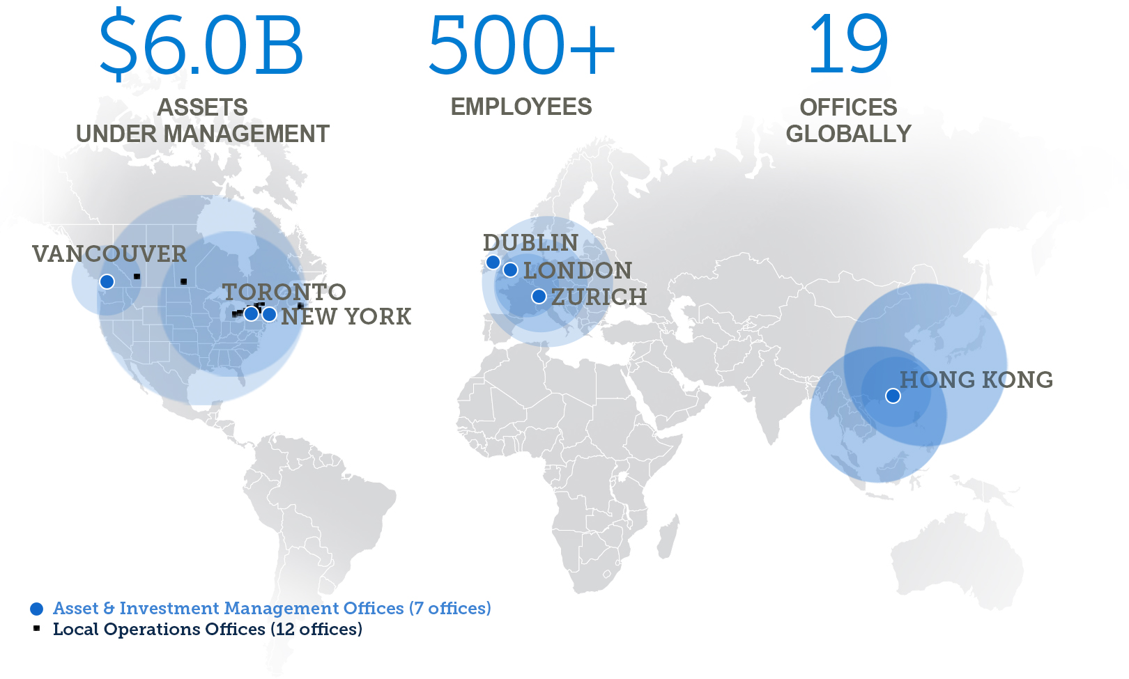 $7B Assets Under Management, 500+ Employees, 19 Offices Globally, Asset & Investment Management Offices (7 offices) including Vancouver, Toronto, New York, Dublin, London, Zurich, Hong Kong. Local Operations Office (12 offices)